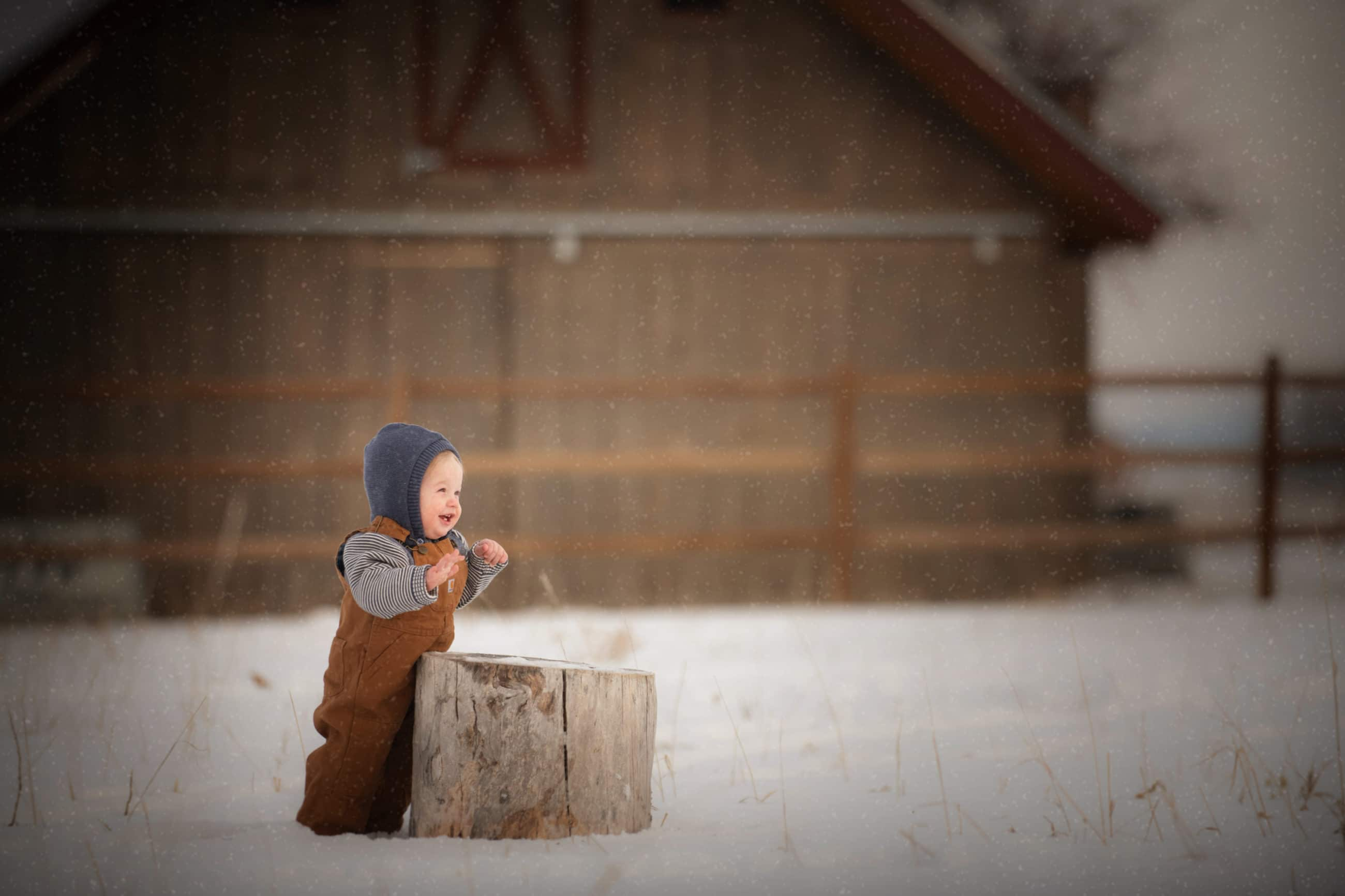 baby boy in carhart overalls standing in the snow in front of a brown barn - boulder photographer