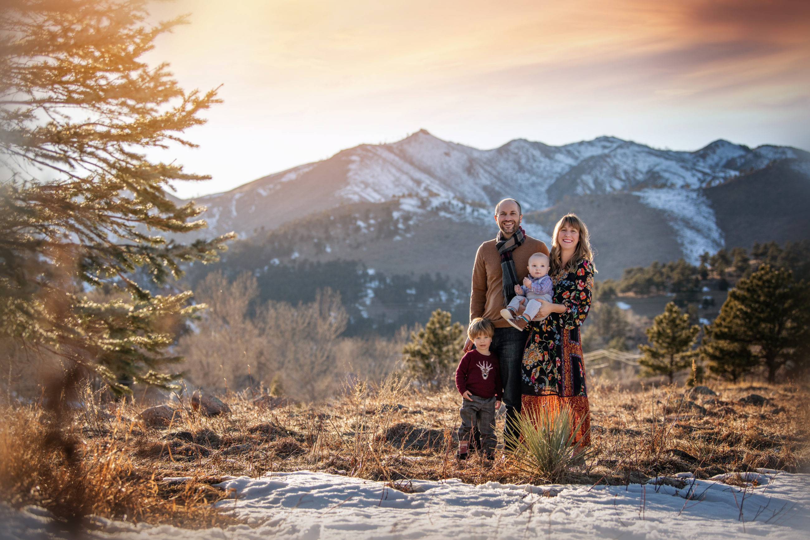 boulder family photography - family of four in field at sunset